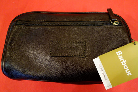 Barbour leather wash bag in new Chocolate UBA0009BR91