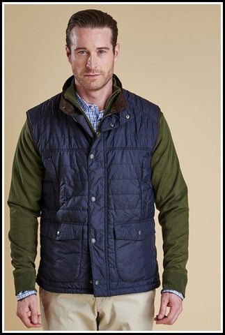 Barbour Gilet Explorer Baffle Quilted in Navy MQU0731NY71