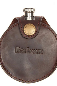 Barbour Hip Flask Round in brown leather MAC0165BR111