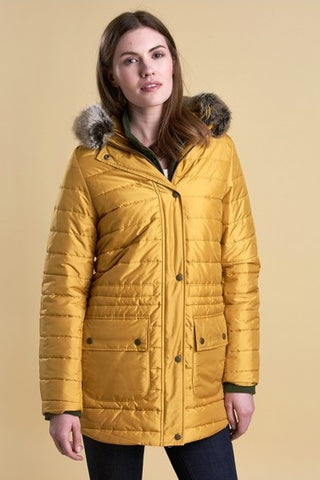 Barbour Ascott Quilt Parka style coat in Harvest Gold LQU0845YE51