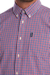 Barbour Shirt-Gingham-Navy/Red-16 Tailored-MSH4700RE51 collar