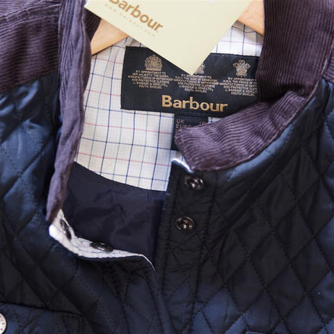 Barbour Reins new Ladies Quilt jacket in NAVY tattersall trim