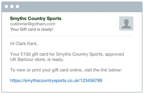 Smyths Country Sports Gift Card customer email