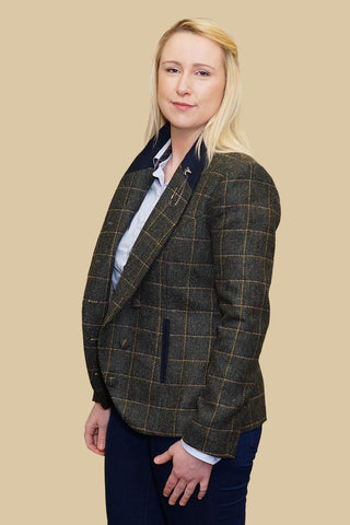 Jack Murphy Beth Tweed Jacket in Country Green Check JAC694CG