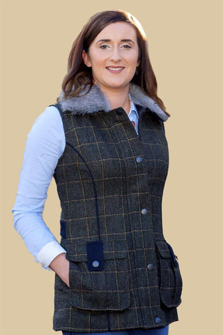 Jack Murphy Jilly Tweed Gilet in Country Green check BOD131