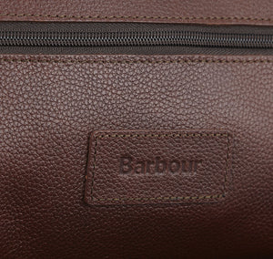 Barbour Wash Bag in Dark Brown Leather logo