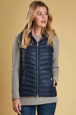 Barbour Pendle Ladies Gilet -Navy/Red-Detachable Hood-LGI0008NY71 front