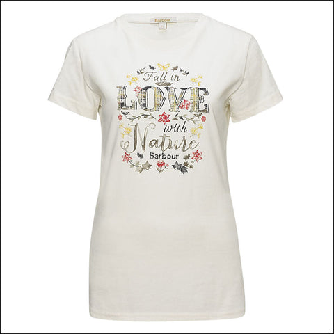 Barbour sale Ladies T-Shirt Love Nature in Cream, front view
