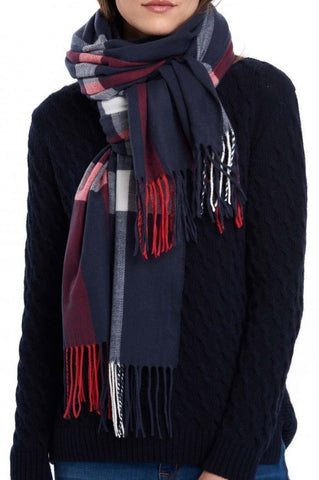 Barbour Scarf-Skye Wrap-Navy/Red Check-LSC0260NY51