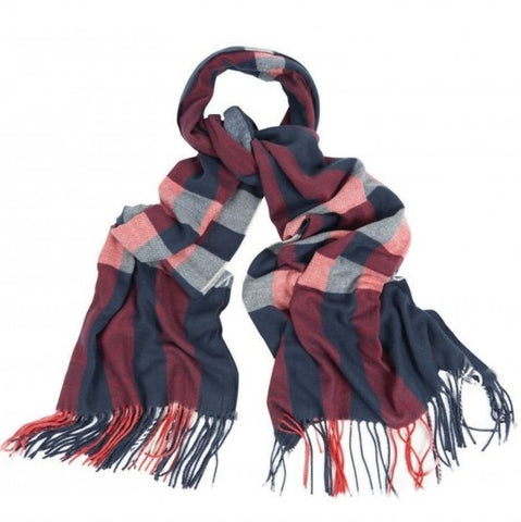 Barbour Scarf-Skye Wrap-Navy/Red Check-LSC0260NY51 knot