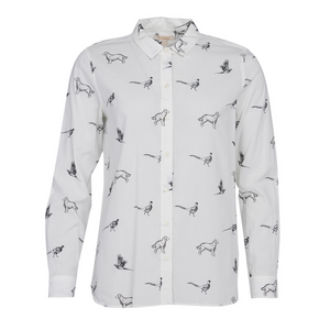 Barbour Shirt-Ladies Safari-Off White-Dog Print-LSH1299WH13 style