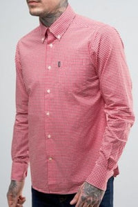 Barbour Shirt-Leonard-Pillar Box Red Gingham-Fitted-MSH3334RE55 side