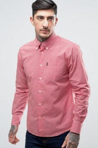 Barbour Shirt-Leonard-Pillar Box Red Gingham-Fitted-MSH3334RE55