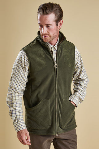 Barbour Dunmoor Mens Gilet in Olive Green side & front
