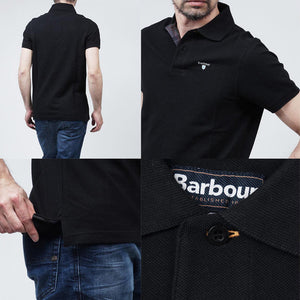 Barbour Polo-Mens-Tartan Pique-Black-MML0012BK31 four