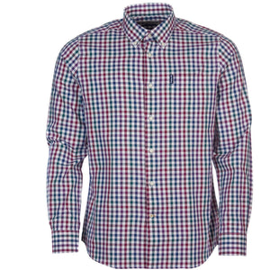 Barbour Shirt-Country Check-Tailored fit-Plum-MSH3225PU31 Logo
