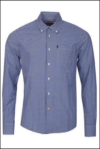 Barbour Leonard Navy gingham shirt in Midnight MSH3334BL92 front