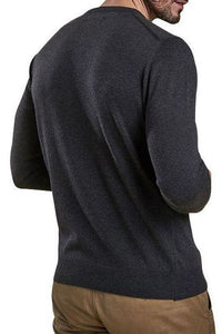 Barbour Sweater-Pima Cotton-Crew Neck-Charcoal-MKN0932CH91 side