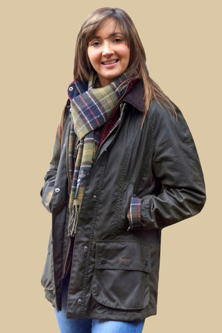 Barbour Classic Beadnell Ladies wax jacket in Olive Green with Matching Classic Tartan Scarf