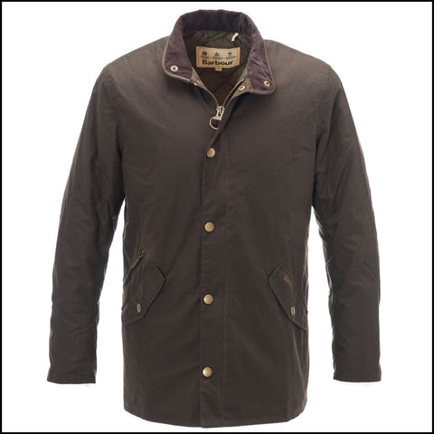 Barbour Prestbury Mens wax jacket in Olive leather trim