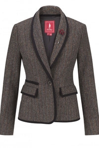Jack Murphy-Ladies Tweed Jacket-Margot- Herringbone-Teal-JAC810 at Smyths