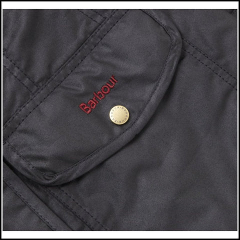 Barbour Squire ladies wax jacket in Black logo