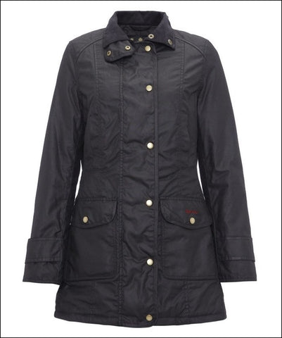 Barbour Squire ladies wax jacket in Black fitted