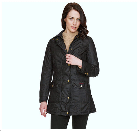 Barbour Squire ladies wax jacket in Black modelled