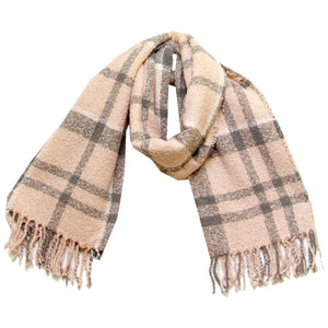Barbour Scarf Boucle-Wrap-Pink/Grey-LSC0130PI31 loose