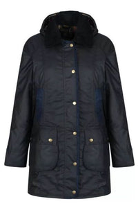 Barbour Bower Ladies Wax Jacket - Navy - LWX0534NY92 longer length
