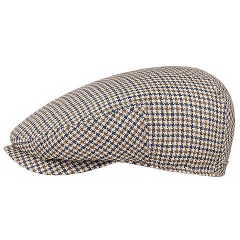 Stetson Cap Flat Driver Cap linen cotton houndstooth in olive /blue STE6243201-152
