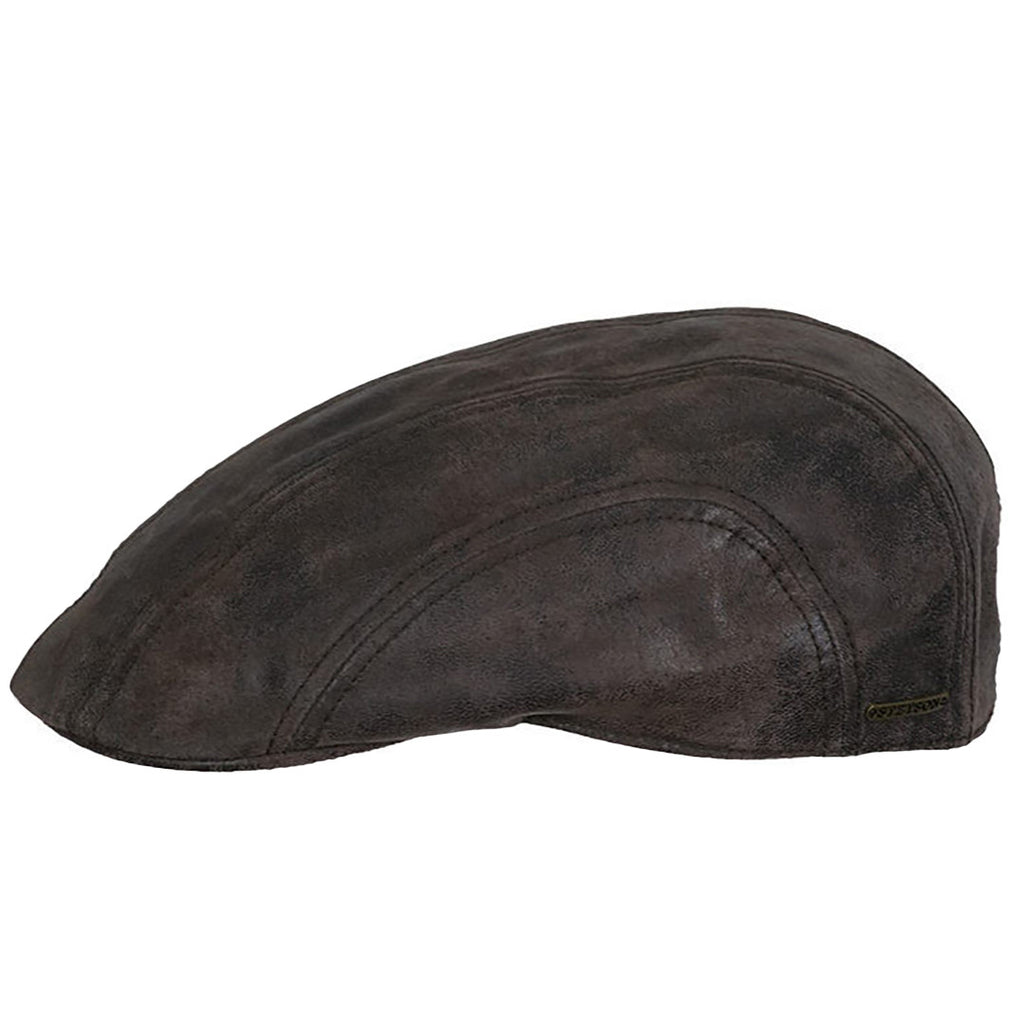 d40dd5cc676d4 Stetson Cap Flat Cap Madison Ivy in dark brown leather 61271 02 - Smyths  Country Sports