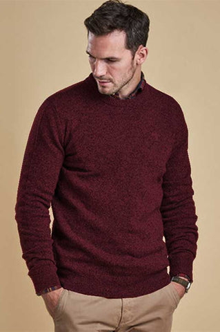 Barbour Sweater-Tisbury Crew Neck-Ruby-MKN0844RE56