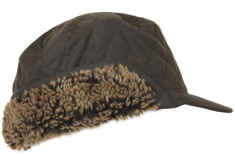 Barbour Stanhope Wax Trapper Hat in Olive side MHA0044OL11