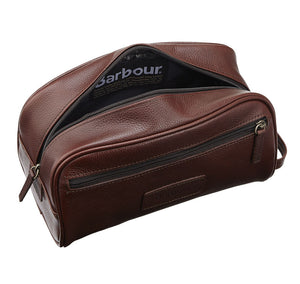 Barbour Wash Bag in Dark Brown Leather classic inner