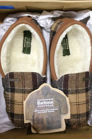 Barbour Slippers Betsy Moccasins in Camel Tartan LSL0002BE11