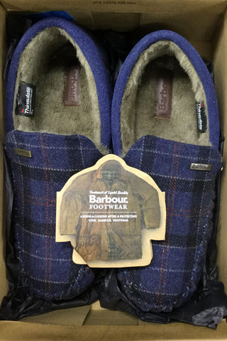 Barbour Monty Moccasin Slippers in NAVY MSL0002NY52