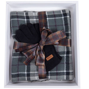 Barbour Scarf and Knitted Glove-Giftset-Grey/Black-LAC0192GY71