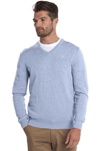 Barbour Sweater-Pima Cotton-V-Neck-Pale Blue Marl-MKN0431BL61