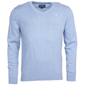Barbour Sweater-Pima Cotton-V-Neck-Pale Blue Marl-MKN0431BL61 blue