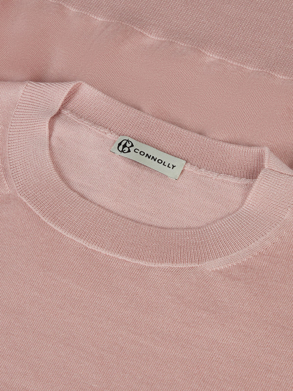 Connolly England | Pink Classic Cashmere & Silk T-Shirt