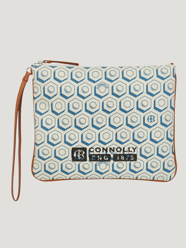 Connolly England | Blue Large Printed Canvas Pouch