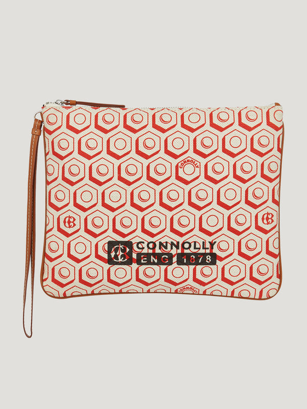 Red Large Printed Canvas Pouch - Connolly England