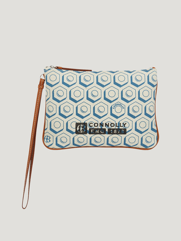 Connolly England | Blue Small Printed Canvas Pouch