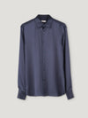 Connolly England | Navy Satin Loose Fit Single Cuff Shirt