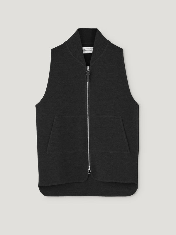 Connolly England | Black Wool Drop Back Car Vest