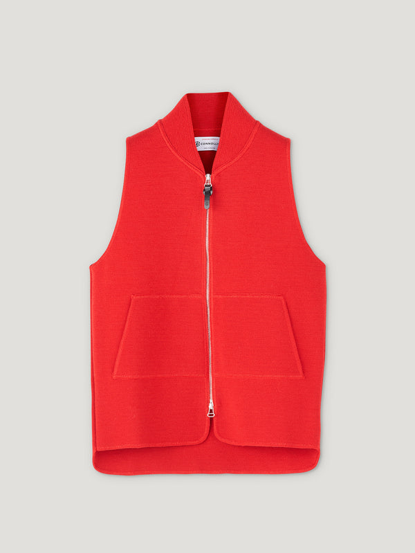 Connolly England | Red Wool Drop Back Car Vest