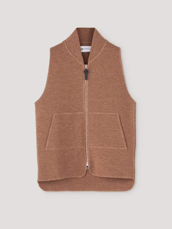 Vicuna Wool Drop Back Car Vest - Connolly England