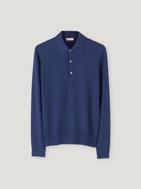 Connolly England | Navy Long Sleeve Merino Polo
