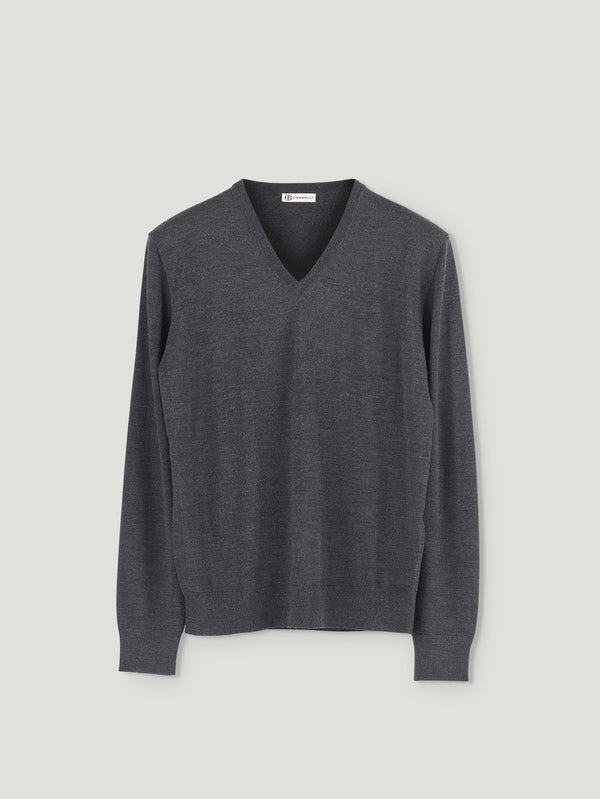 Charcoal Classic V-Neck - Connolly England